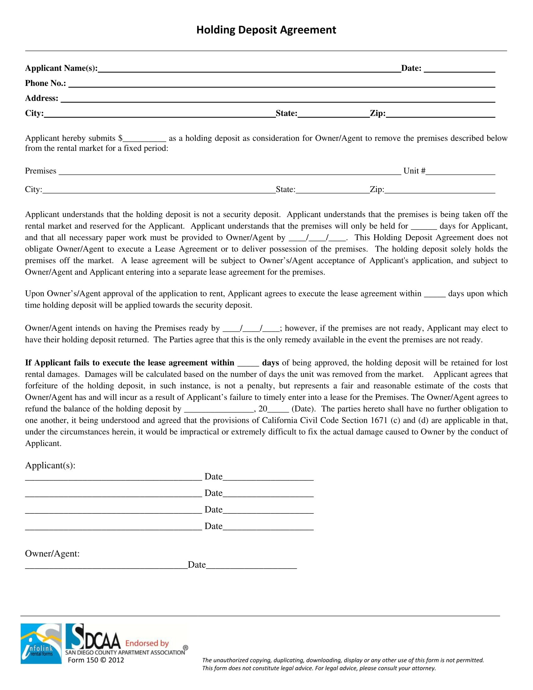 Landlord Forms Landlord Agreements Notice Forms Eviction For Holding Deposit Agreement Template