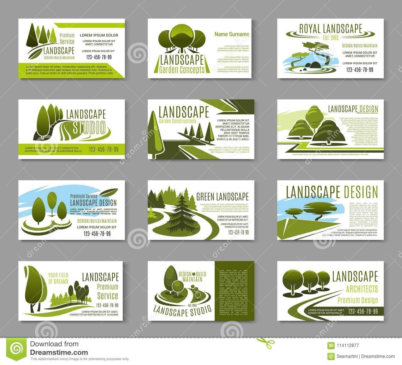 Landscape Design Studio Business Card Template Stock Vector Inside Gardening Business Cards Templates