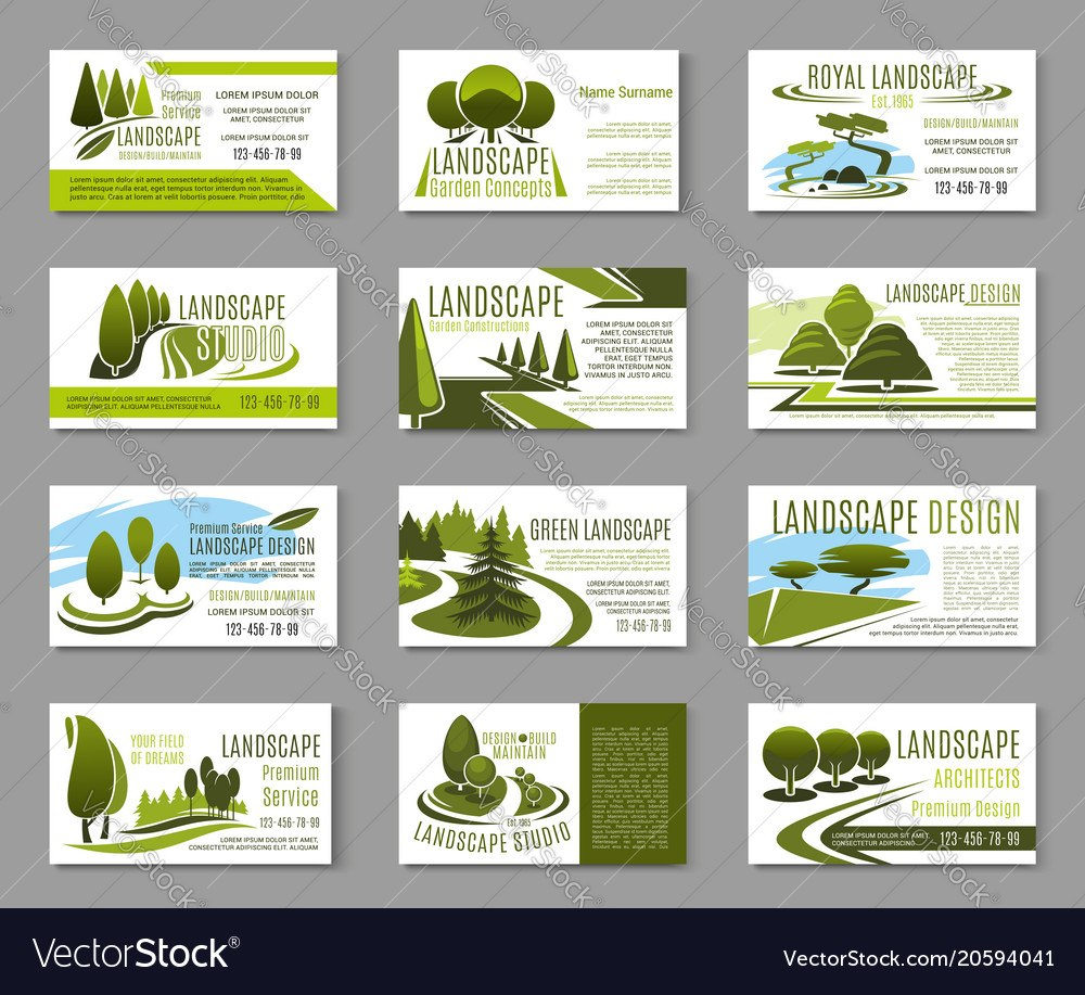 Landscape Design Studio Business Card Template Vector Image Throughout Landscaping Business Card Template