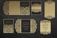 Laser Cut Wedding Invitation Set X Cricut Template Gate Fold Tri with Silhouette Cameo Card Templates