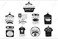 Laundry Room Black And White Label Set Of Traditional Style Flat for Black And White Label Templates