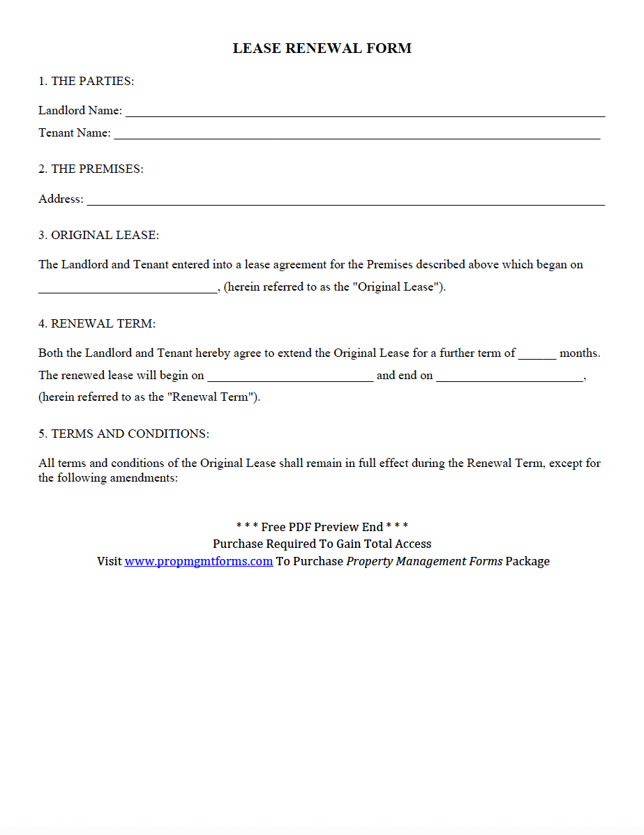 Lease Renewal Form Pdf  Property Management Forms In   Being A Intended For Renewal Of Tenancy Agreement Template
