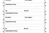 Lesson Plan Template  Weekly Guided Reading Lesson Plan Template regarding Vocabulary Words Worksheet Template
