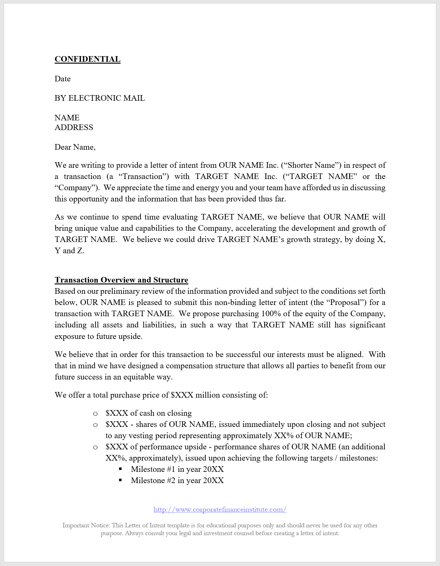 Letter Of Intent Loi Template  All The Key Terms Included In An Loi Intended For Membership Card Terms And Conditions Template