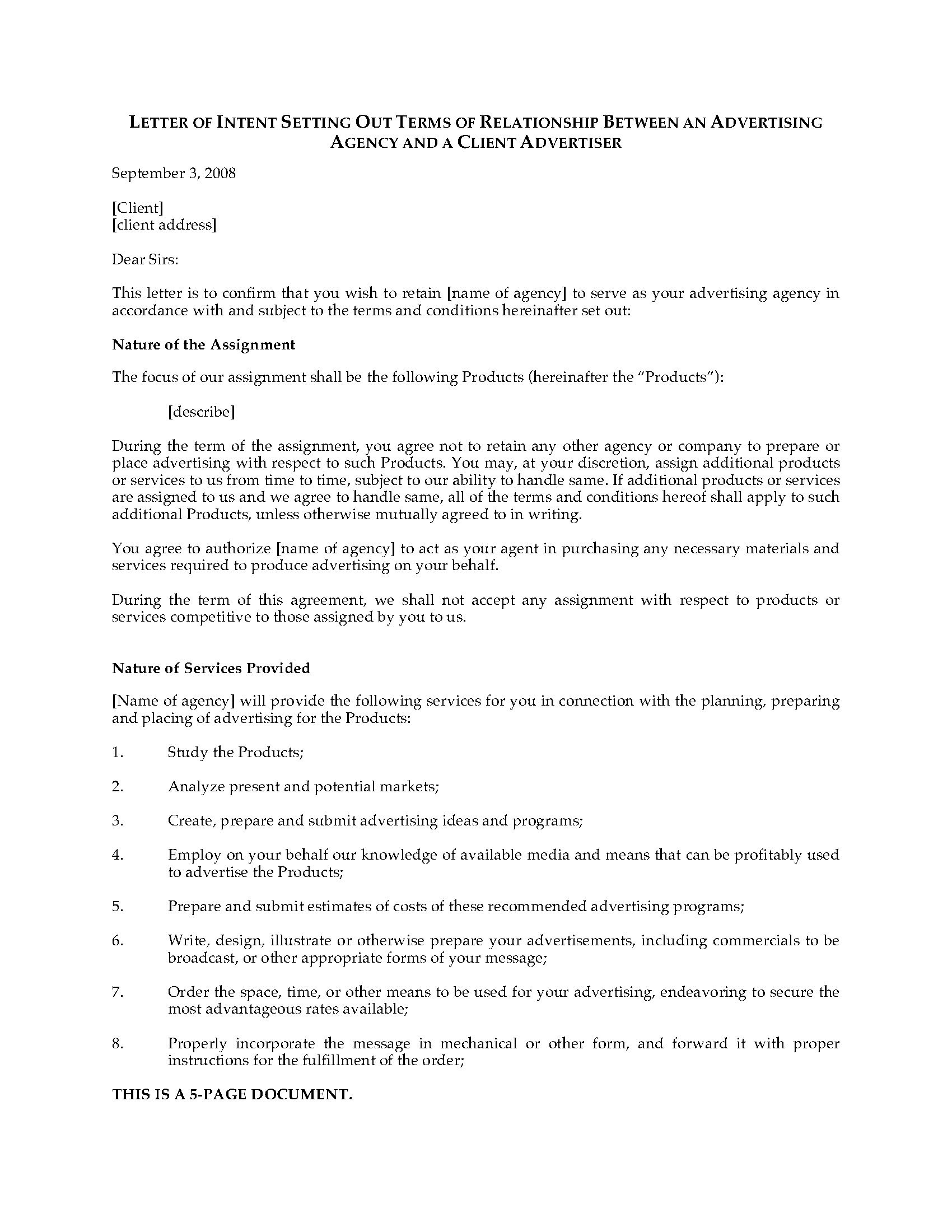 Letter Of Intent To Hire Advertising Agency  Legal Forms And Inside Free Advertising Agency Agreement Template