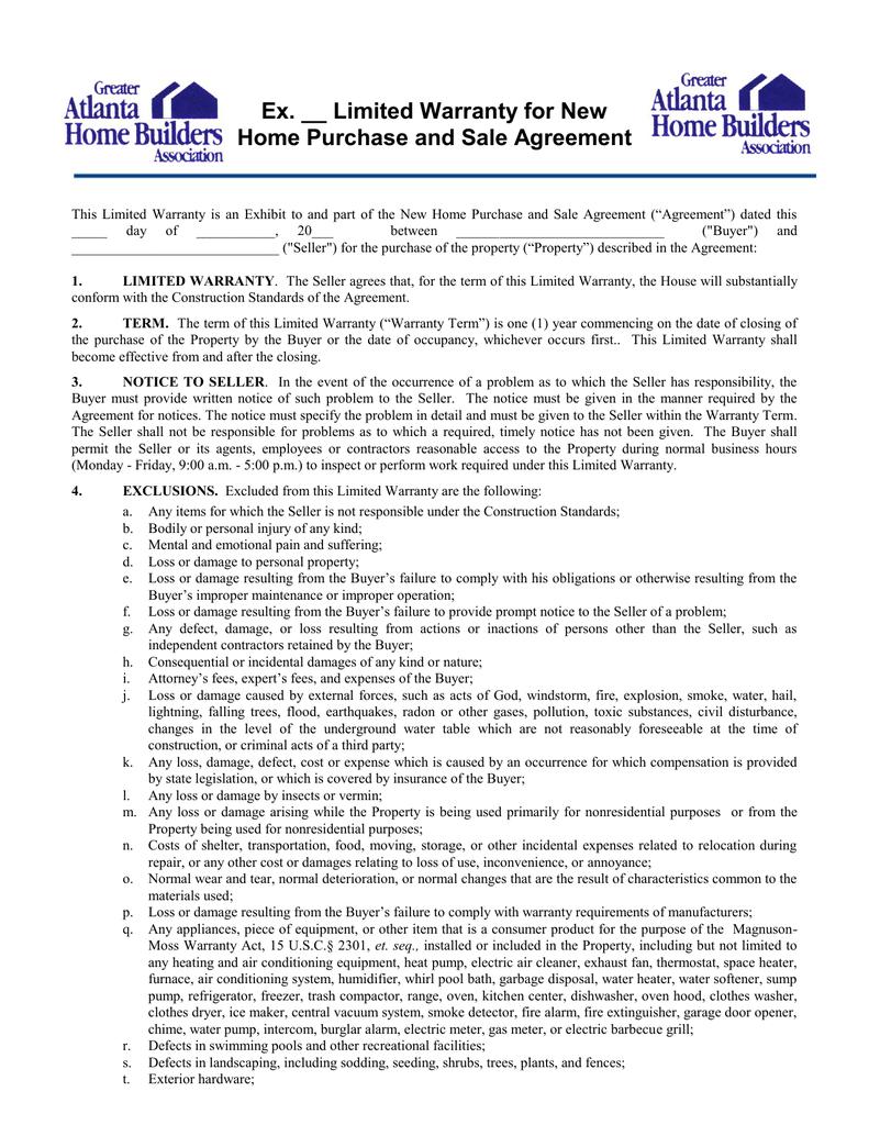 Limited Warranty Agreement  Greater Atlanta Home Builders In Limited Warranty Agreement Template