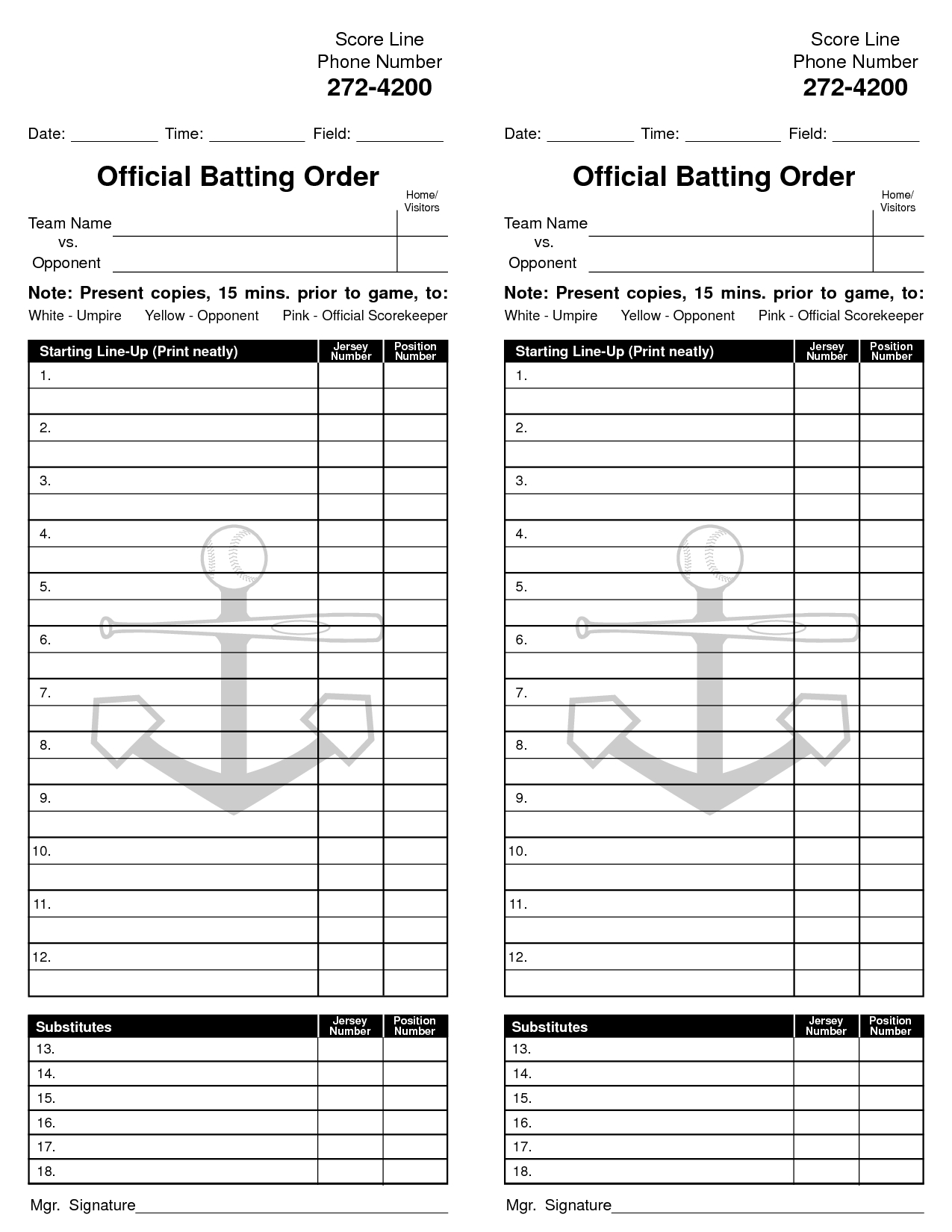 Little League Lineup Template Best Images Of Baseball Card Free Within Baseball Lineup Card Template