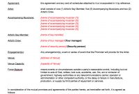 Live Promoter  Artist Contract Template for Record Label Artist Contract Template