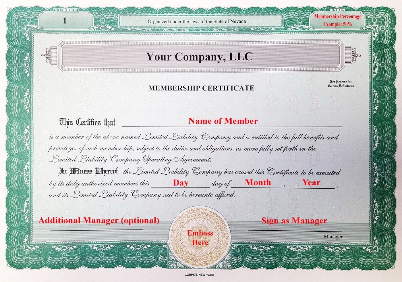 Llc Membership Certificate Template Member Staggering Ideas Pdf Throughout New Member Certificate Template
