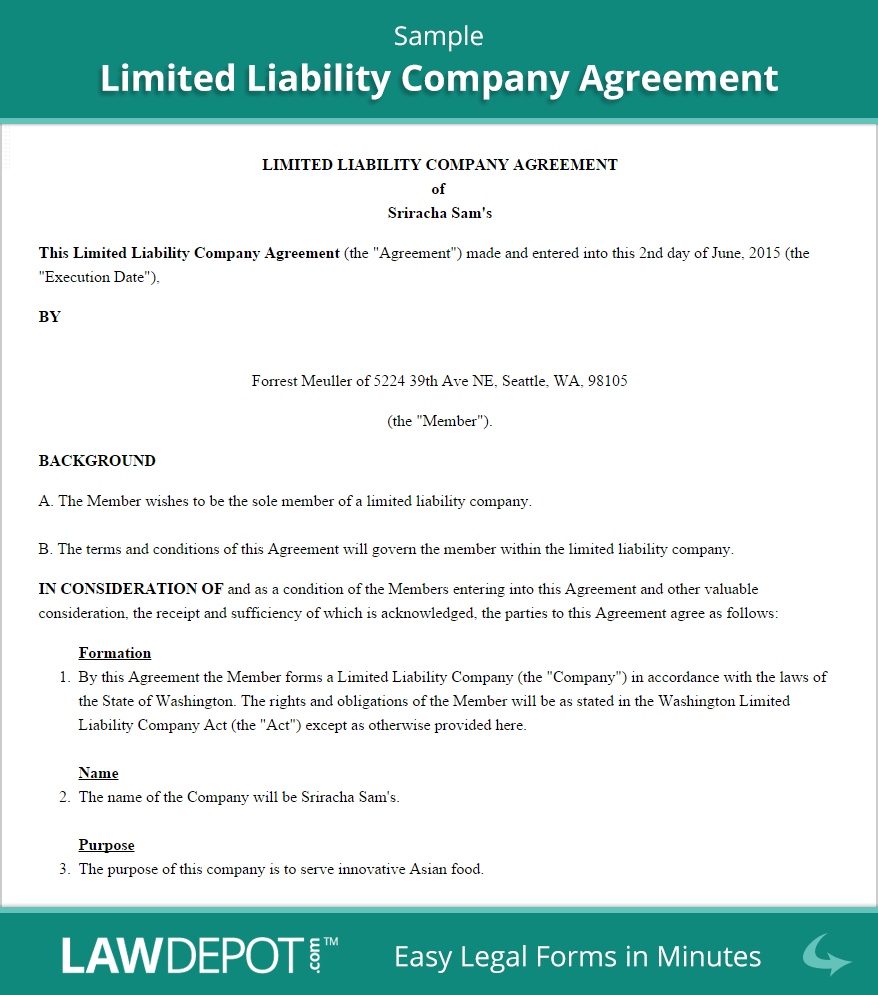 Llc Operating Agreement Template Us  Lawdepot Throughout Sale Of Business Contract Template Free