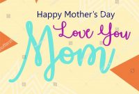 Love Mom Lettering Mothers Day Greeting Stockvektorgrafik intended for Mom Birthday Card Template