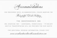 Luxury Free Wedding Accommodation Card Template  Best Of Template for Wedding Hotel Information Card Template