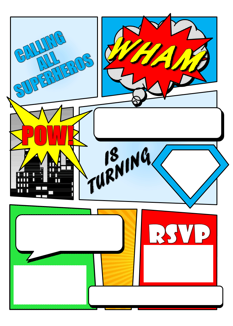 Make Your Own Comic Book Printable  Superhero Comic Book Party Pertaining To Superhero Water Bottle Labels Template