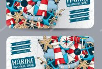 Marine Nautical Travel Concept Horizontal Banner Template Set Modern intended for Nautical Banner Template