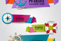 Marine Nautical Travel Concept Horizontal Banner Template Set pertaining to Nautical Banner Template