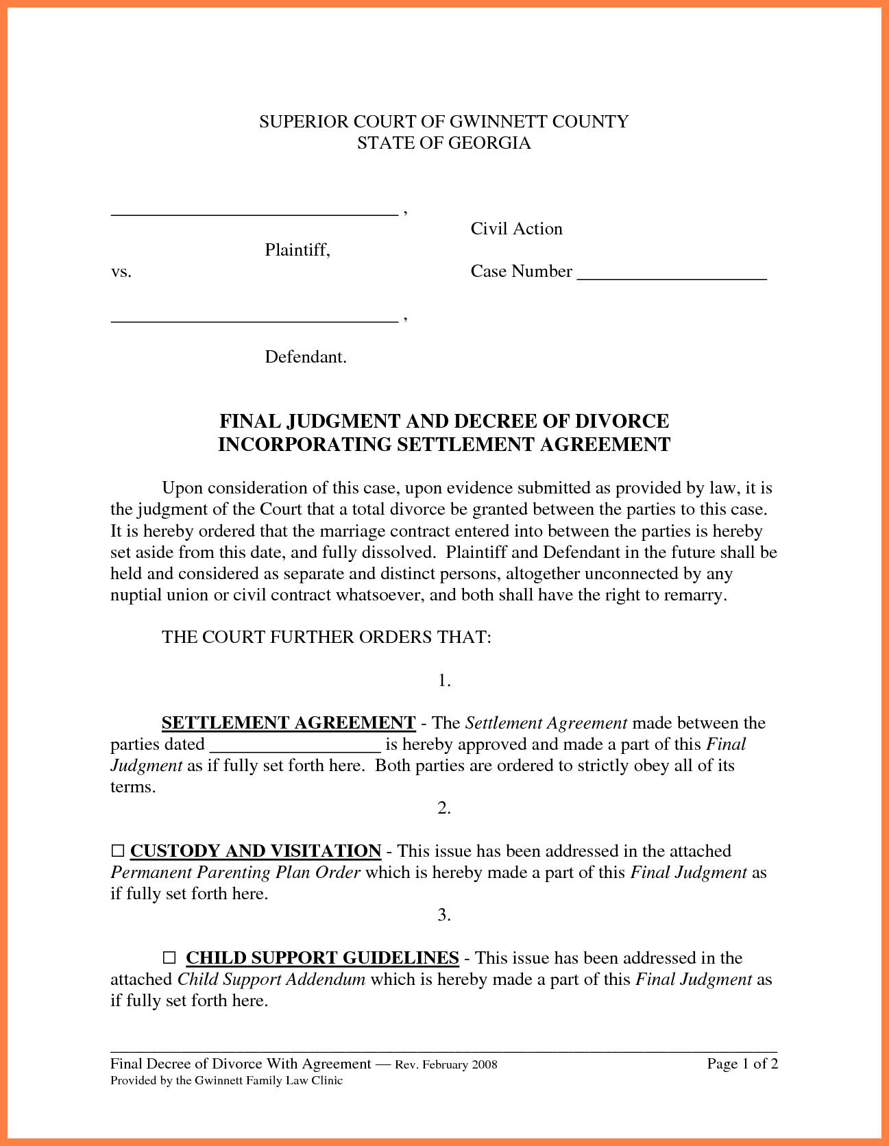Marital Settlement Agreement  Marital Settlements Information For Divorce Mediation Agreement Template