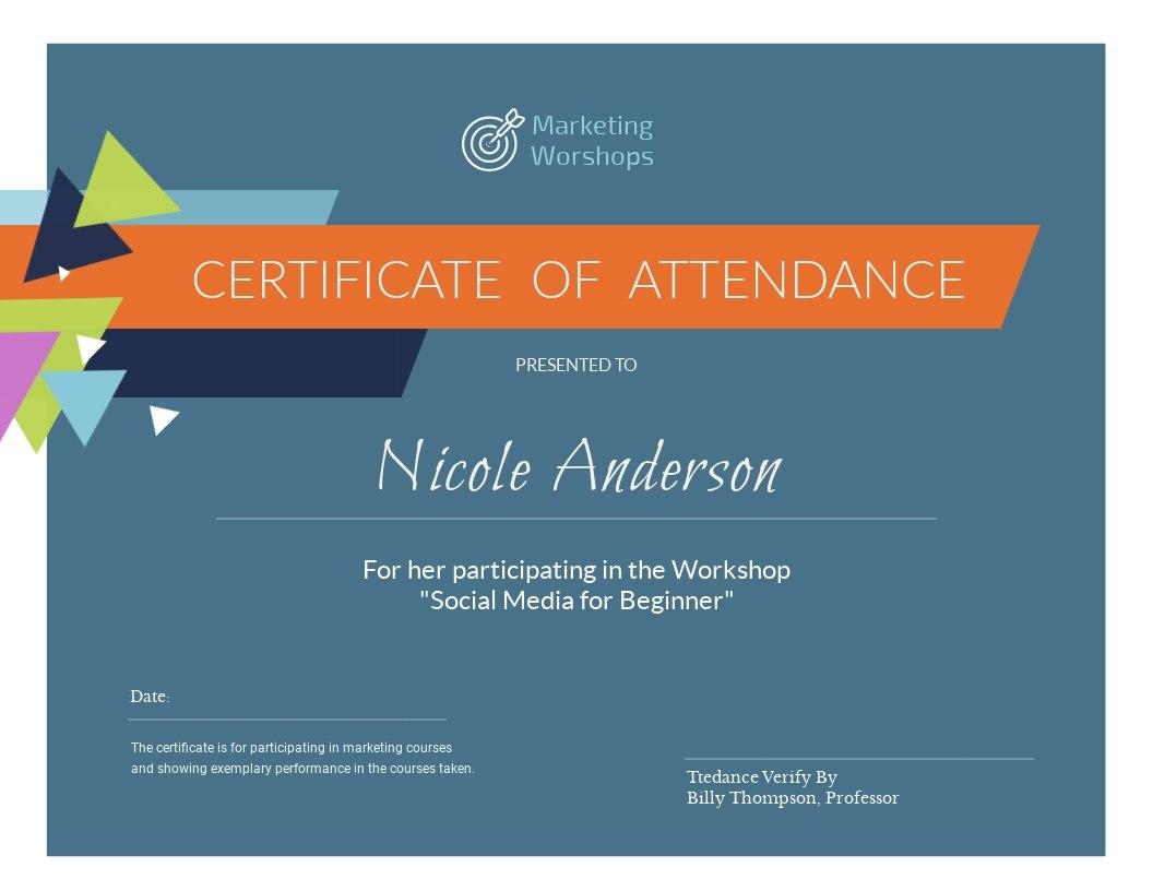 Marketing Workshop Certificate Template  Visme With Workshop Certificate Template