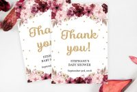 Maroon And Pink Floral Thank You Card Template Printable Baby  Etsy throughout Thank You Card Template For Baby Shower