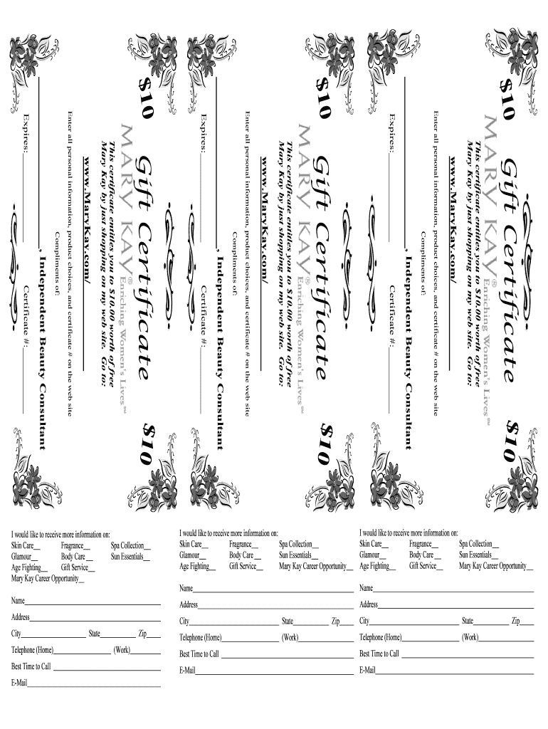 Mary Kay Printable Gift Certificates  Fill Online Printable Regarding Mary Kay Gift Certificate Template