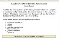 Master Distributor Agreement Sample Template Contract throughout Exclusive Distribution Agreement Template Free