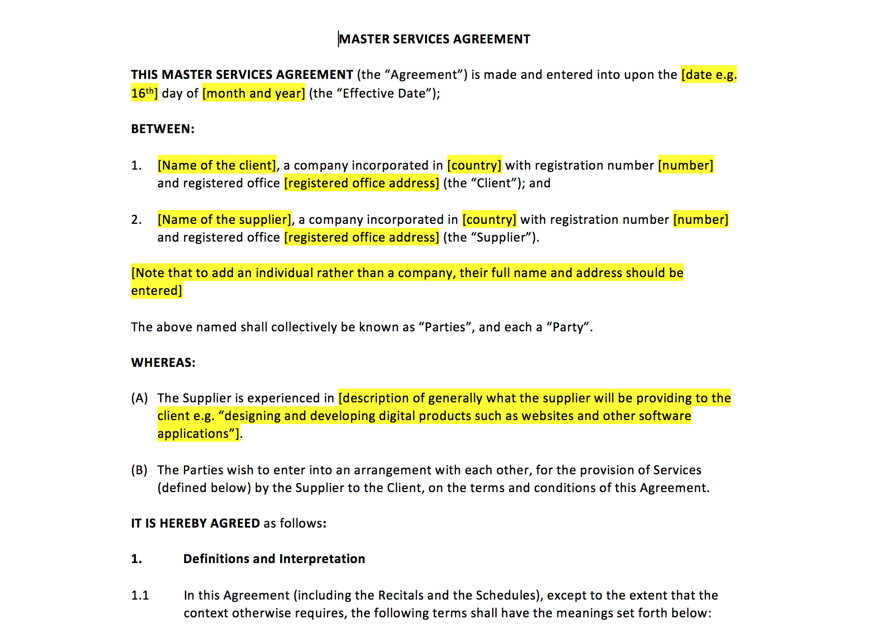Master Services Agreement Template – Uk Template Agreements And With Supplier Service Level Agreement Template