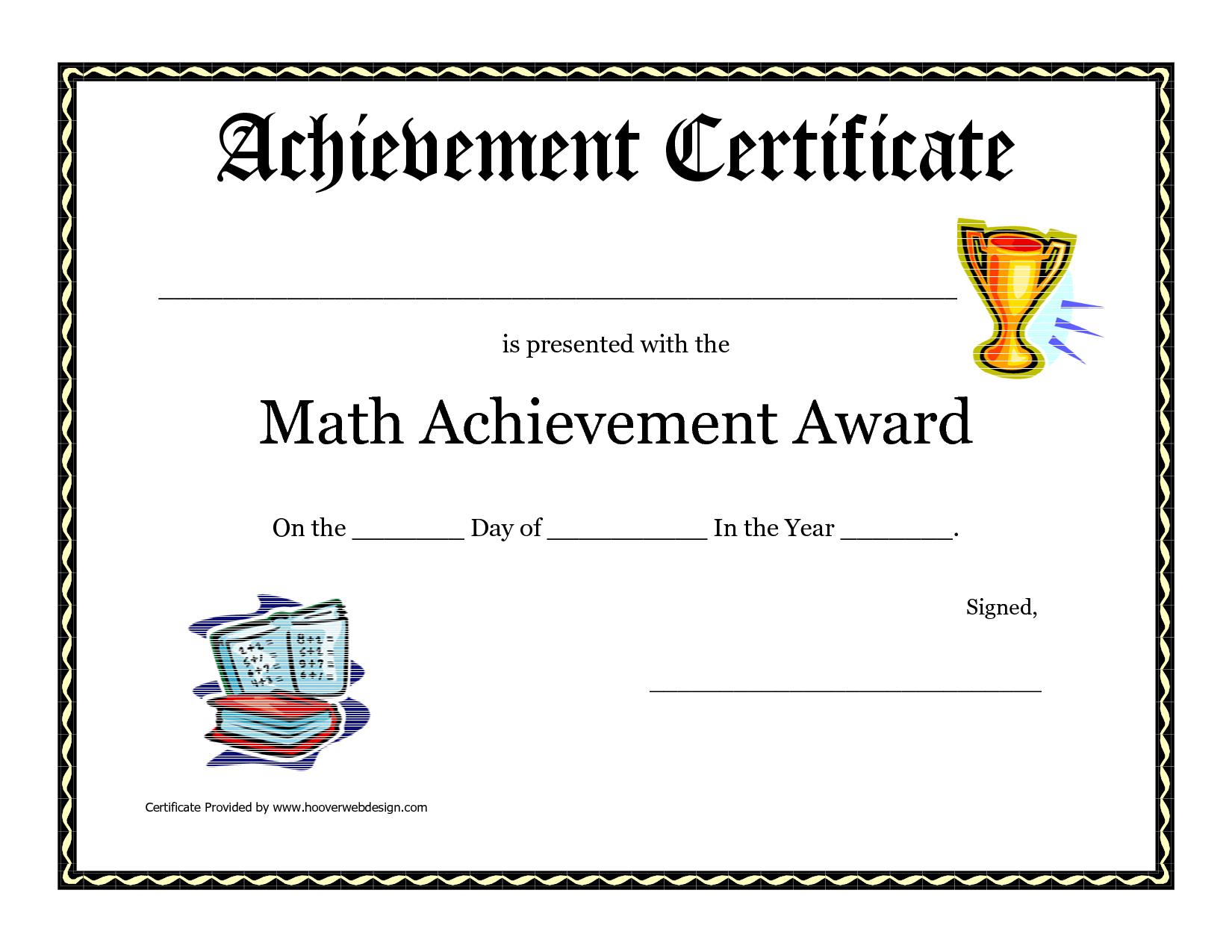 Math Achievement Award Printable Certificate Pdf  Math Activites For Math Certificate Template