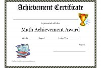 Math Achievement Award Printable Certificate Pdf  Math Activites with regard to Classroom Certificates Templates
