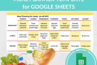 Meal Planner Template Spreadsheet Grocery Planning Excel Google With Menu Template Google Docs