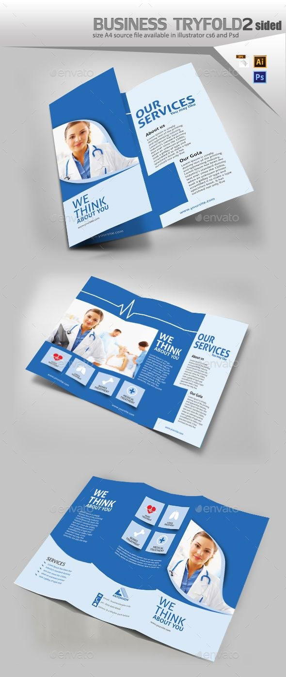 Medical Trifold Brochure  Graphics  Brochure Template Business In Medical Office Brochure Templates