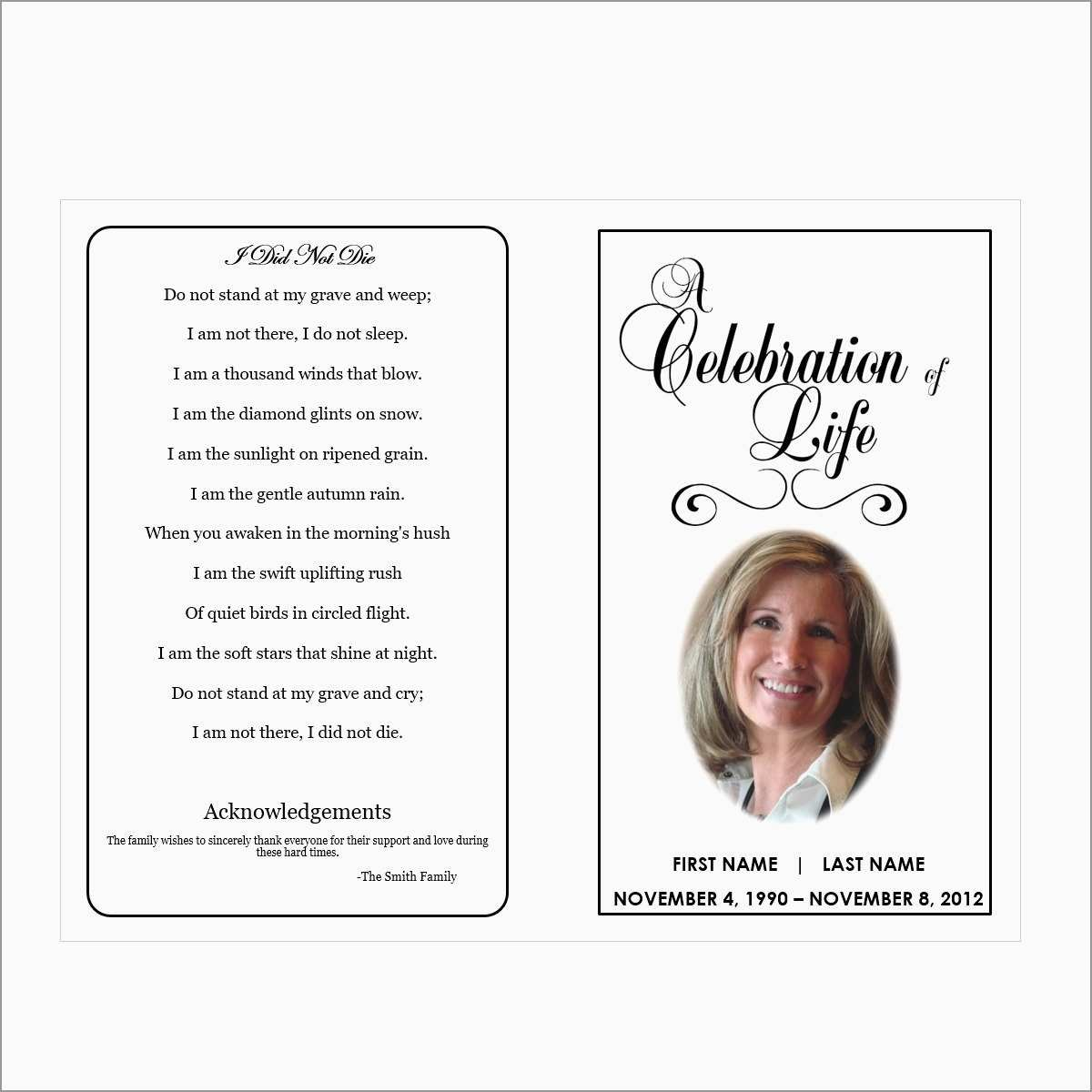 Memorial Cards For Funeral Template Free Fresh  Printable Funeral Intended For Remembrance Cards Template Free