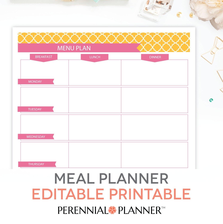 Menu Plan Weekly Meal Planning Template Printable Editable  Etsy For Breakfast Lunch Dinner Menu Template