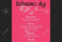 Menu Template For Valentine Day Dinner Flyer With Handdrawn regarding Valentine Menu Templates Free