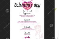 Menu Template For Valentine Day Dinner Stock Vector  Illustration pertaining to Free Valentine Menu Templates