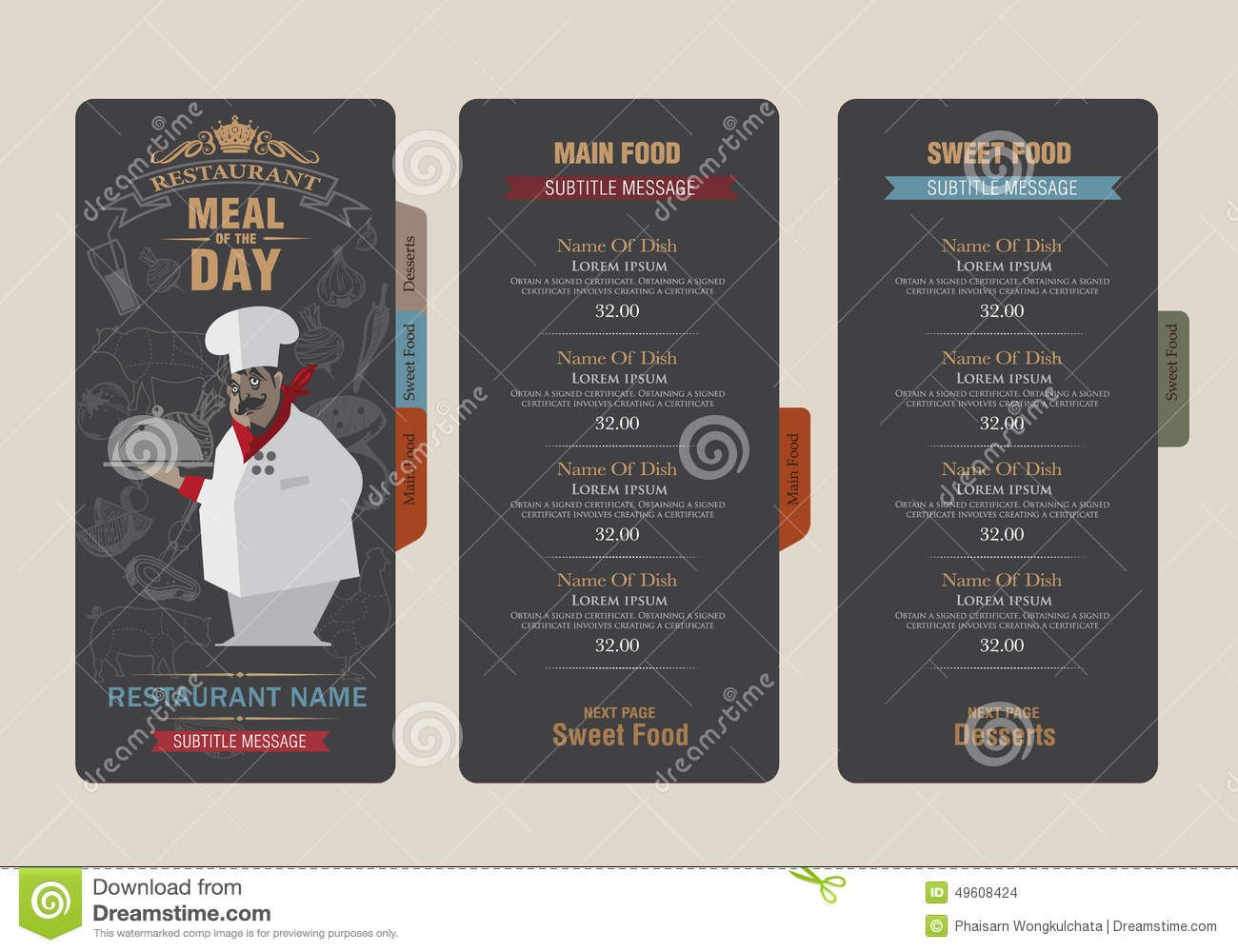 Menu Template Stock Vector Illustration Of Design Crumpled Within Adobe Illustrator Menu Template