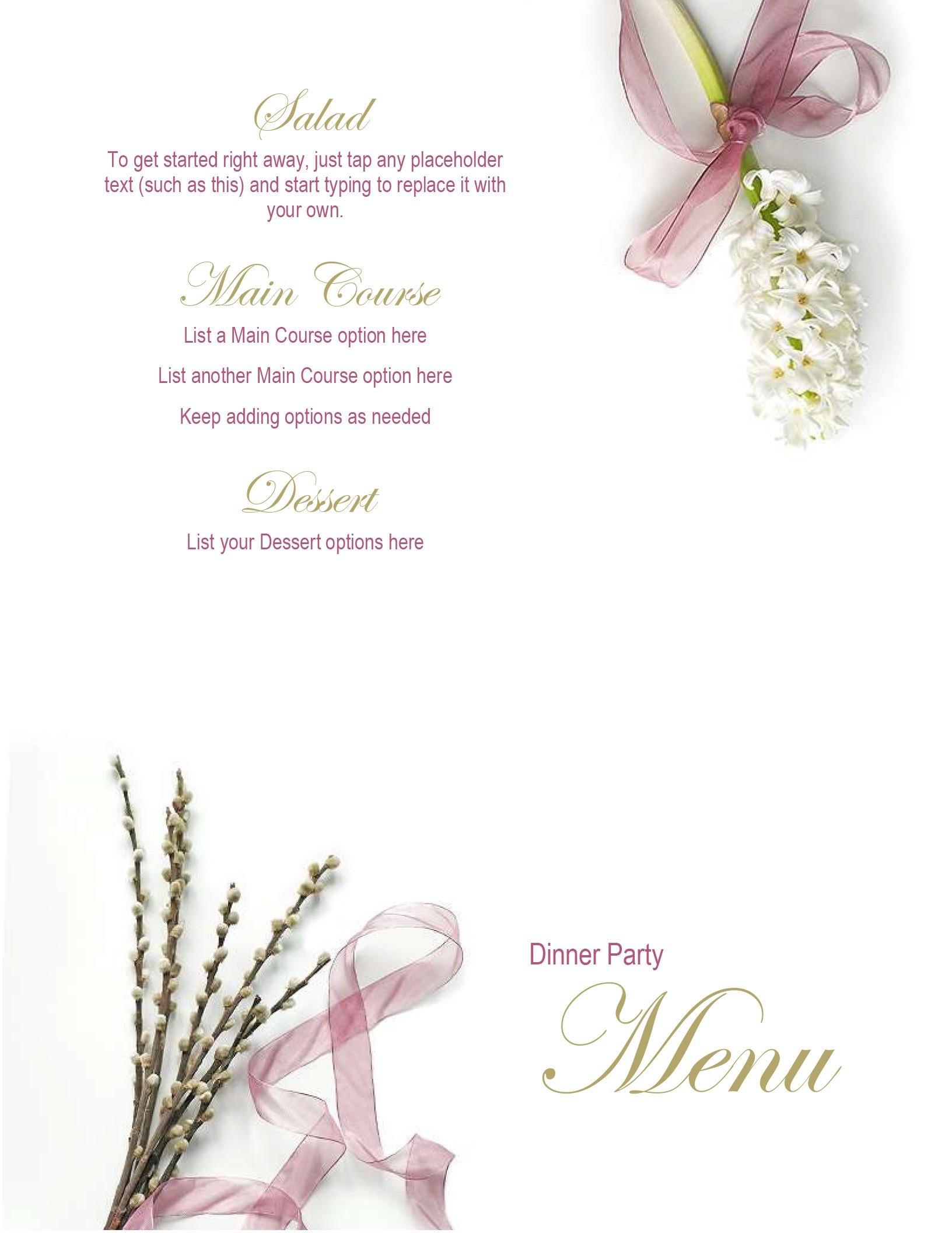 Menus  Office Regarding Wedding Menu Choice Template
