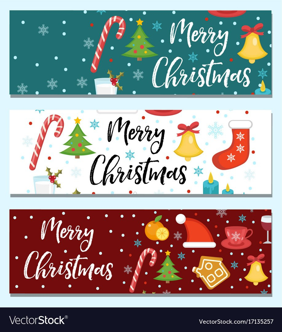 Merry Christmas Set Of Banners Template With Vector Image For Merry Christmas Banner Template