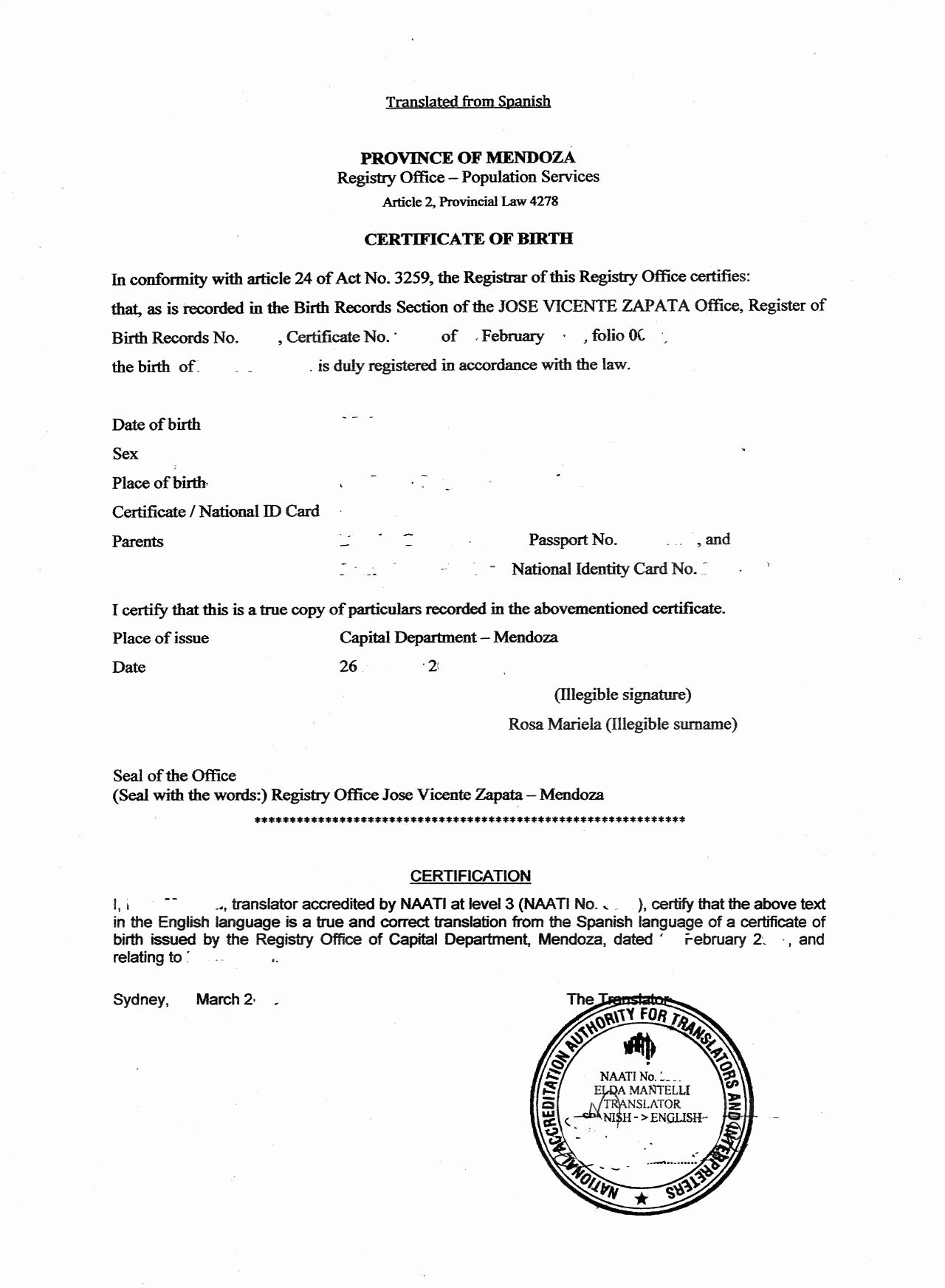 Mexican Birth Certificate Translation Template Fresh Best S Of Birth Pertaining To Spanish To English Birth Certificate Translation Template