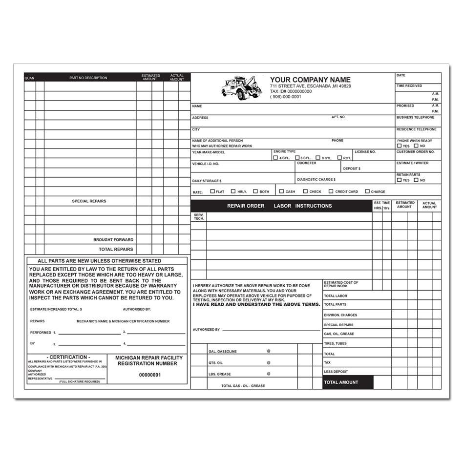 Michigan Auto Repair Invoice  Business Form Printing  Designsnprint Intended For Mechanic Shop Invoice Templates