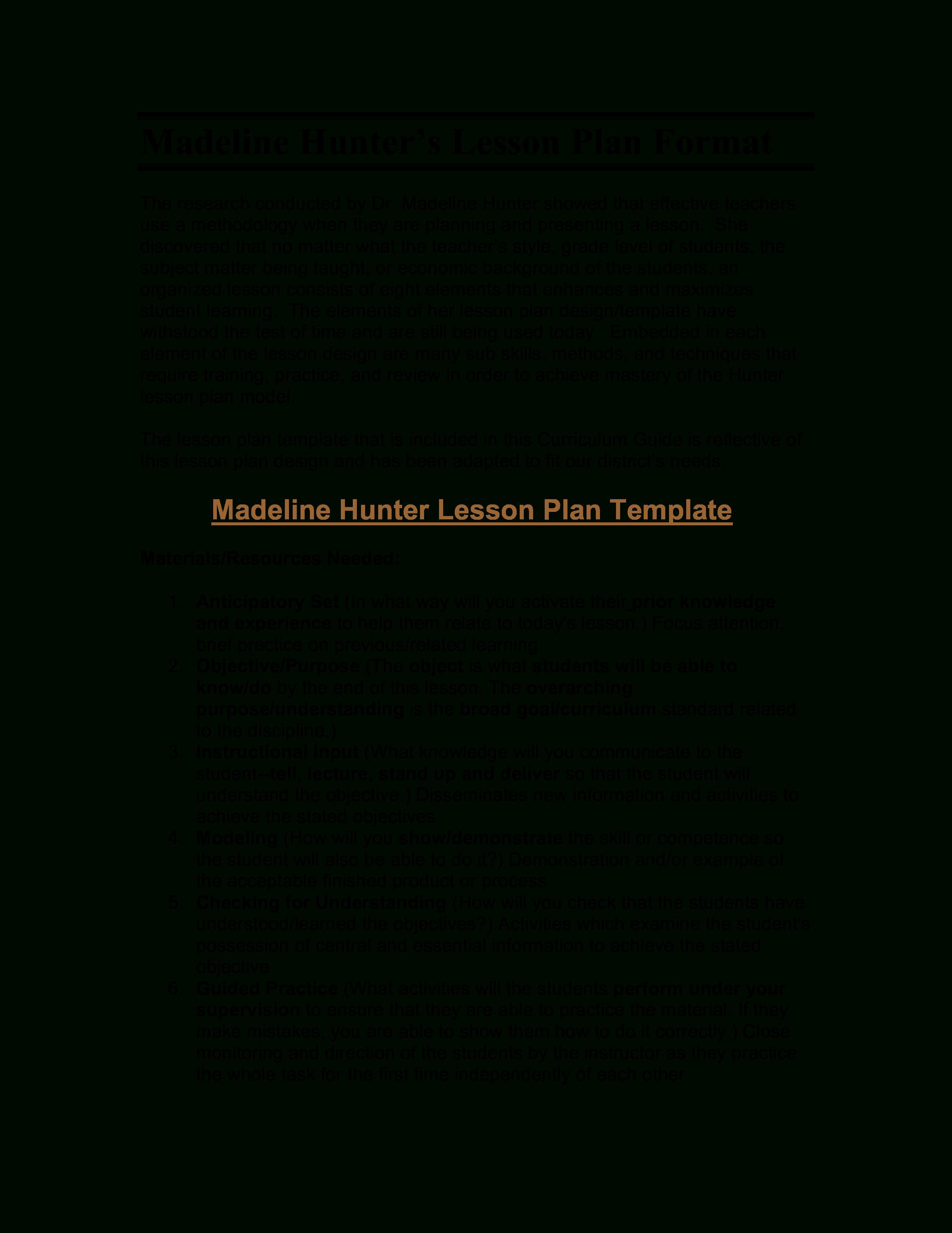 Microsoft Word  Madeline Hunter's Lesson Plan Format  Madeline In Madeline Hunter Lesson Plan Template Word