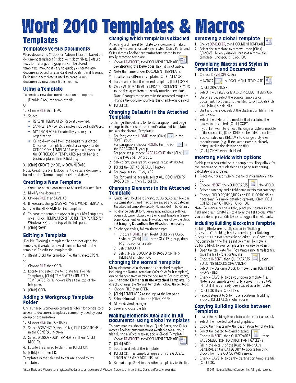 Microsoft Word  Templates  Macros Quick Reference Guide Cheat Within Cheat Sheet Template Word