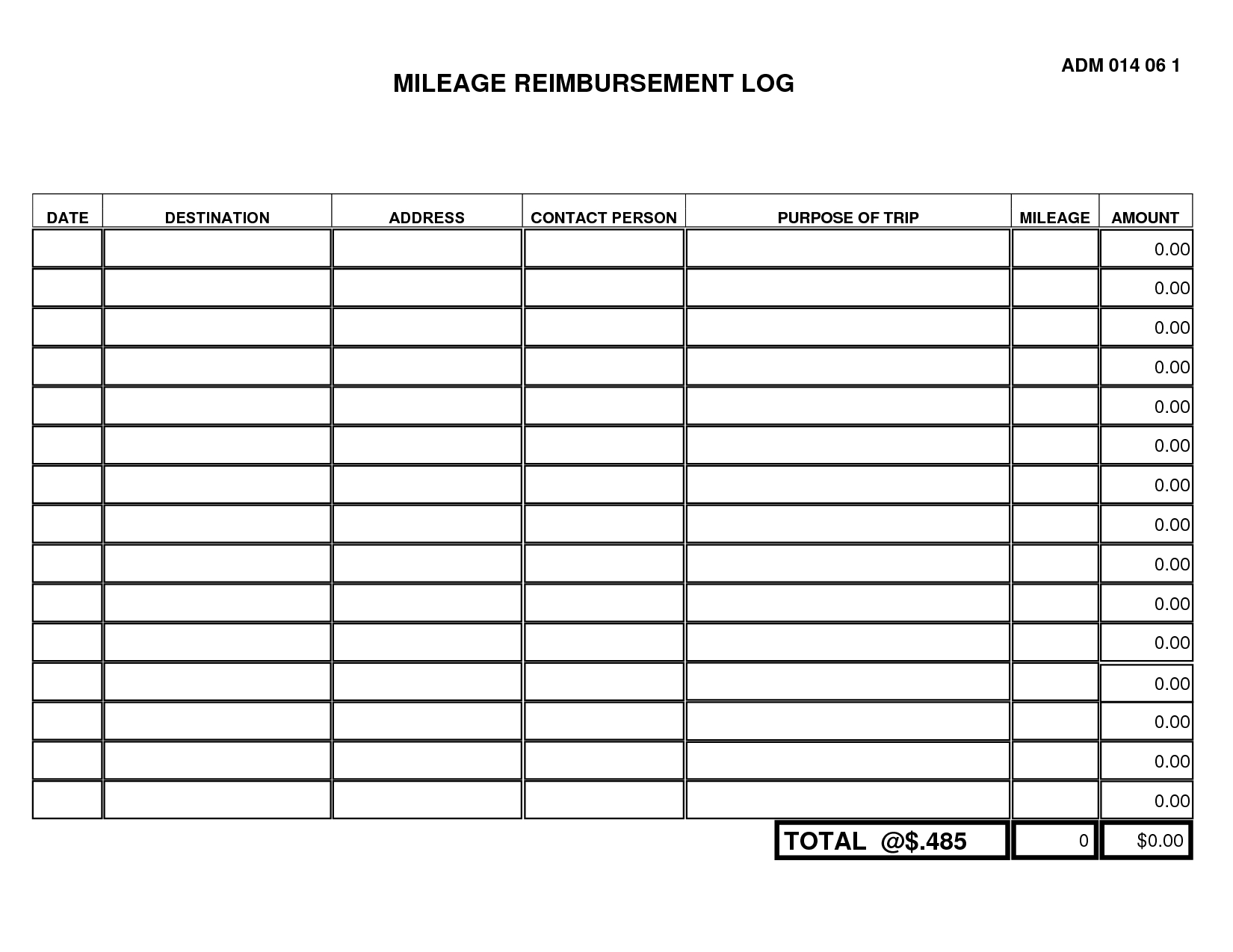 Mileage Log Form Template  Free Printable Staggering Ideas Within Mileage Report Template