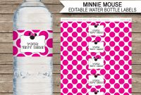 Minnie Mouse Party Water Bottle Labels  Minnie Mouse Theme intended for Birthday Water Bottle Labels Template Free