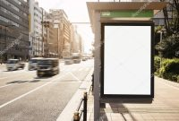 Mock Up Banner Template At Bus Shelter Media Outdoor Display City pertaining to Street Banner Template