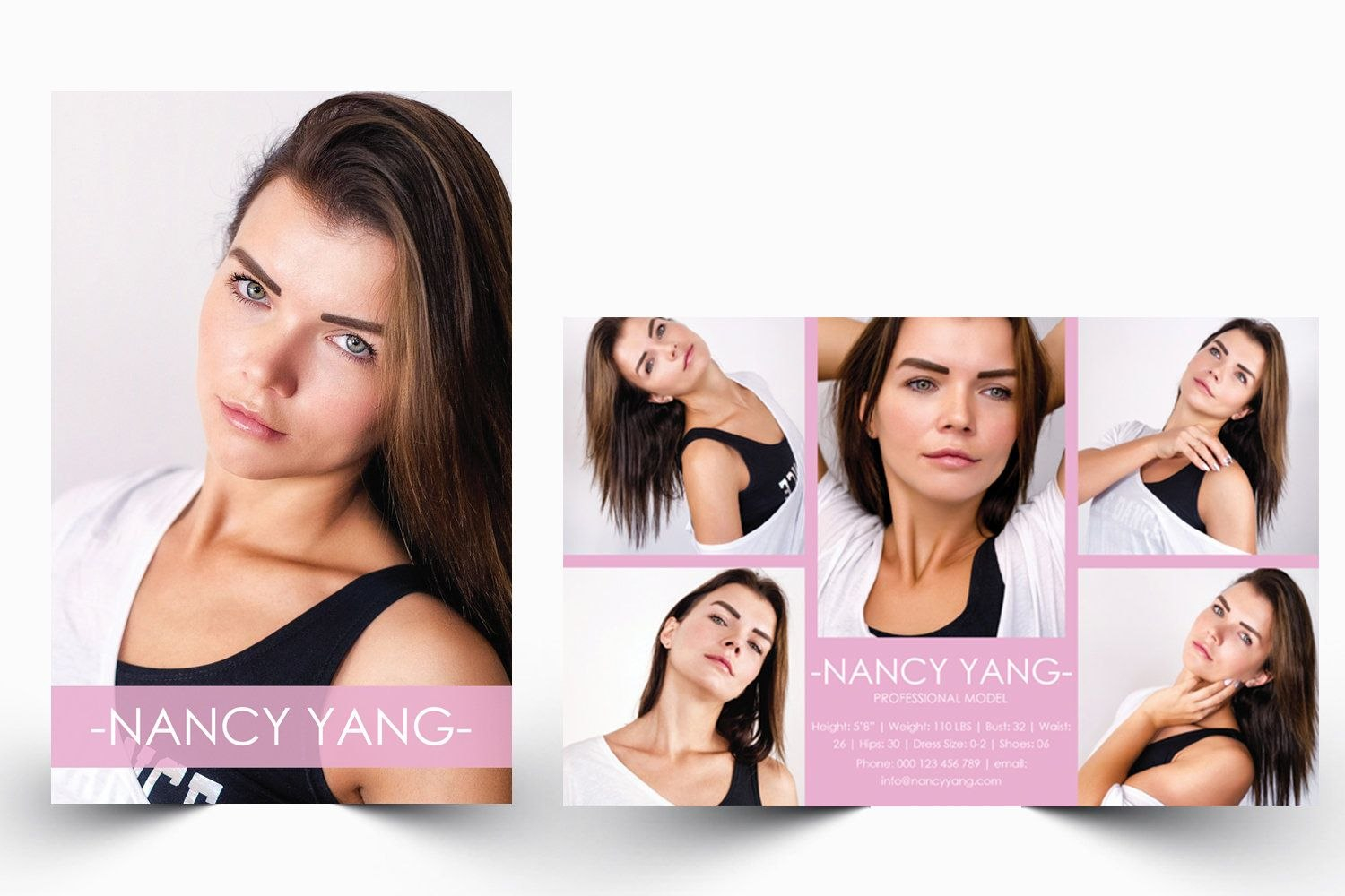 Modeling Comp Card  Model Agency Zed Card  Photoshop  Ms Word Intended For Zed Card Template