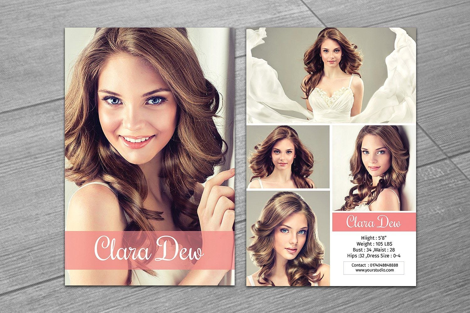 Modeling Comp Card Templatevtemplate Shop On Creativemarket In Comp Card Template Psd