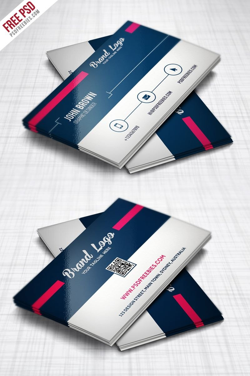 Modern Business Card Design Template Free Psd  Business Cards Within Professional Business Card Templates Free Download