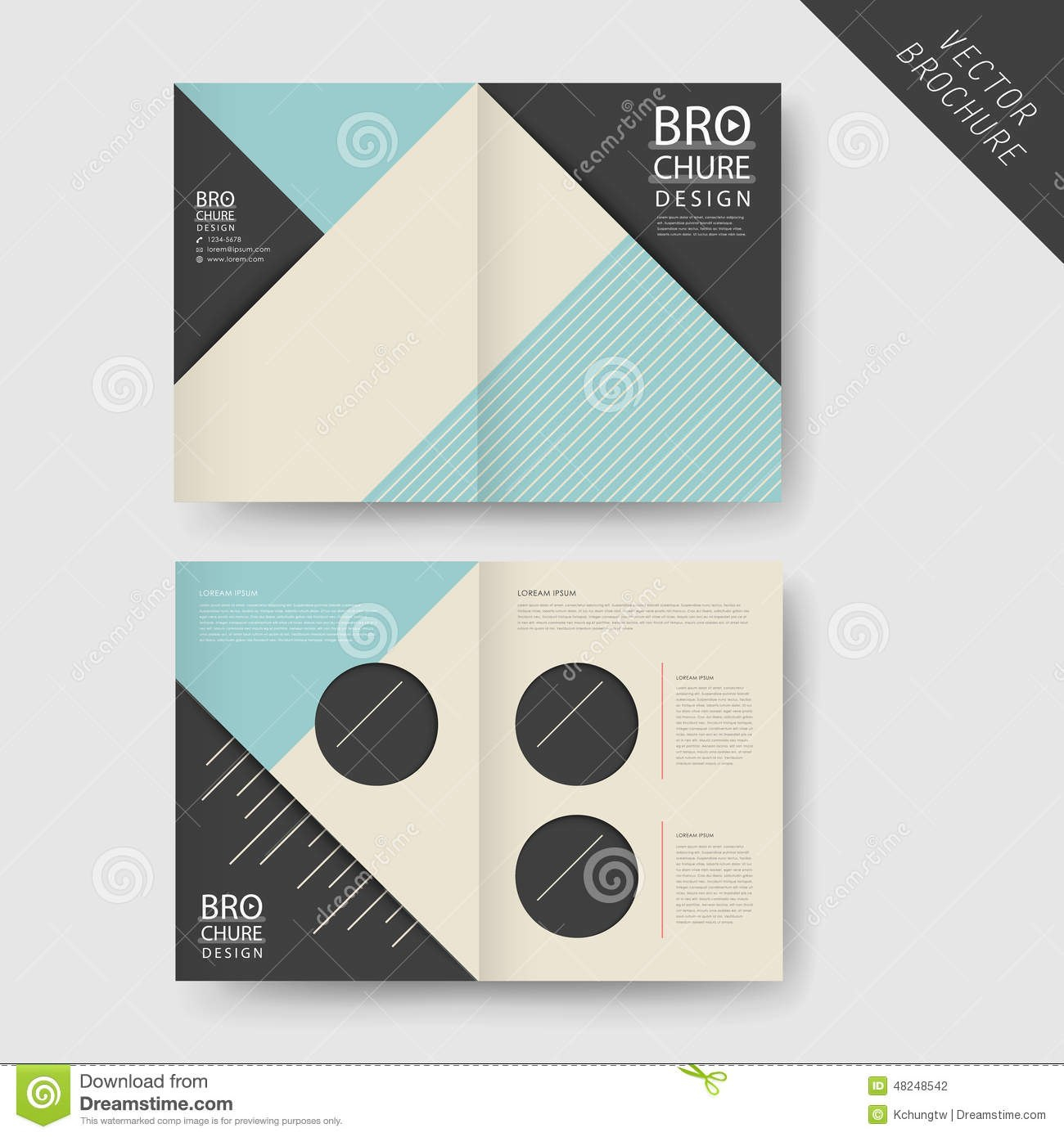 Modern Geometric Halffold Brochure Stock Vector  Illustration Of With Half Page Brochure Template