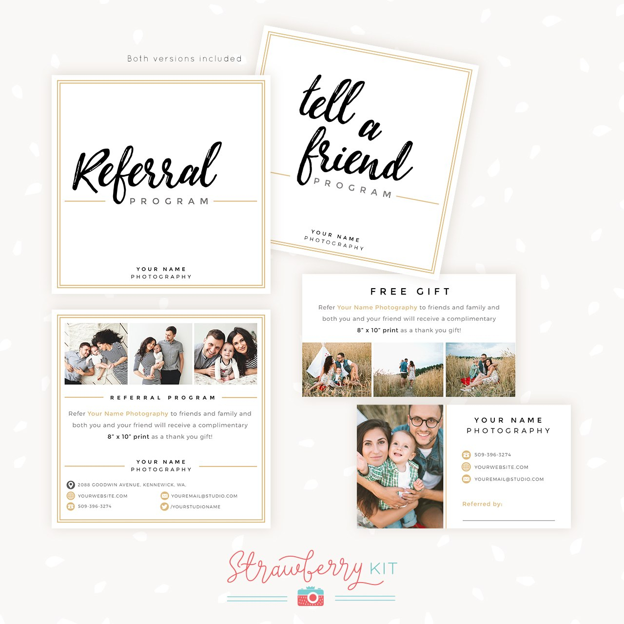 Modern Hand Lettering Referral Card Set  Strawberry Kit Pertaining To Photography Referral Card Templates