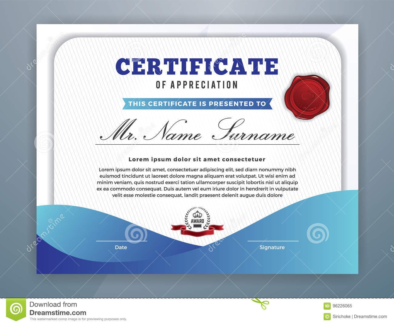 Modern Professional Certificate Template Stock Vector  Illustration In Professional Award Certificate Template