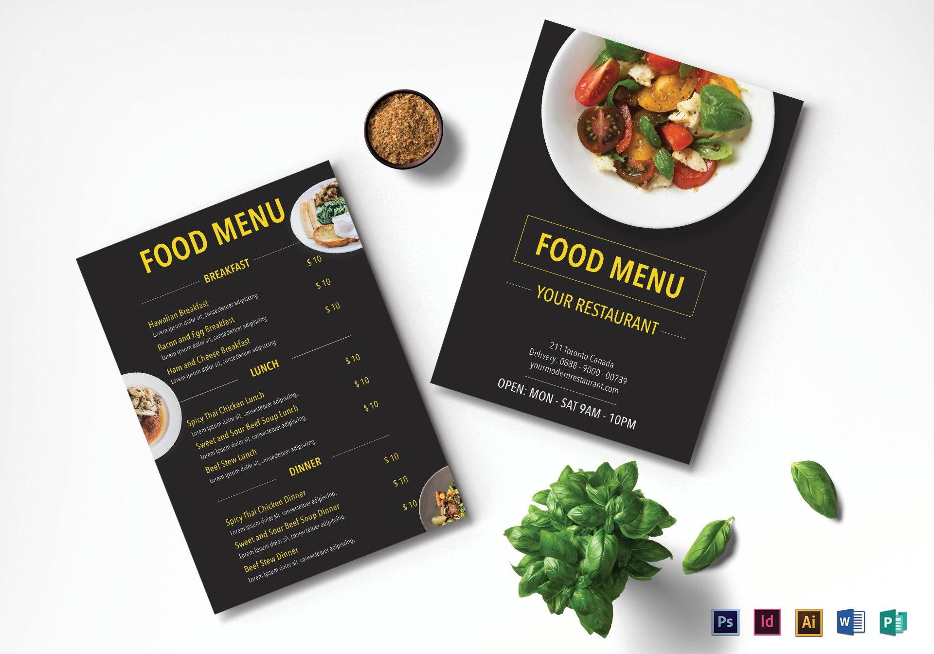 Modern Restaurant Menu Design Template In Psd Word Publisher In Menu Templates For Publisher